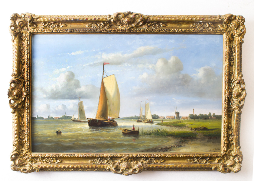 "Antique Oil Painting Hendrick Hulk "" Dutch Shipping"""