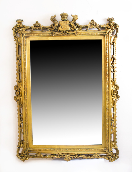 Antique Gilded Mirror With Prince Albert Crest C 1850