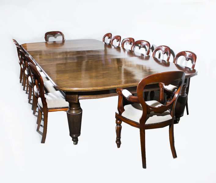 Antique Extending Dining Table 14 Chairs C1880 photo 1