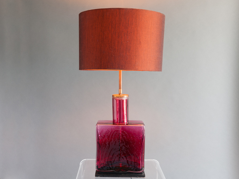 1960 S Belgium Brass And Ruby Red Glass Lamp Base