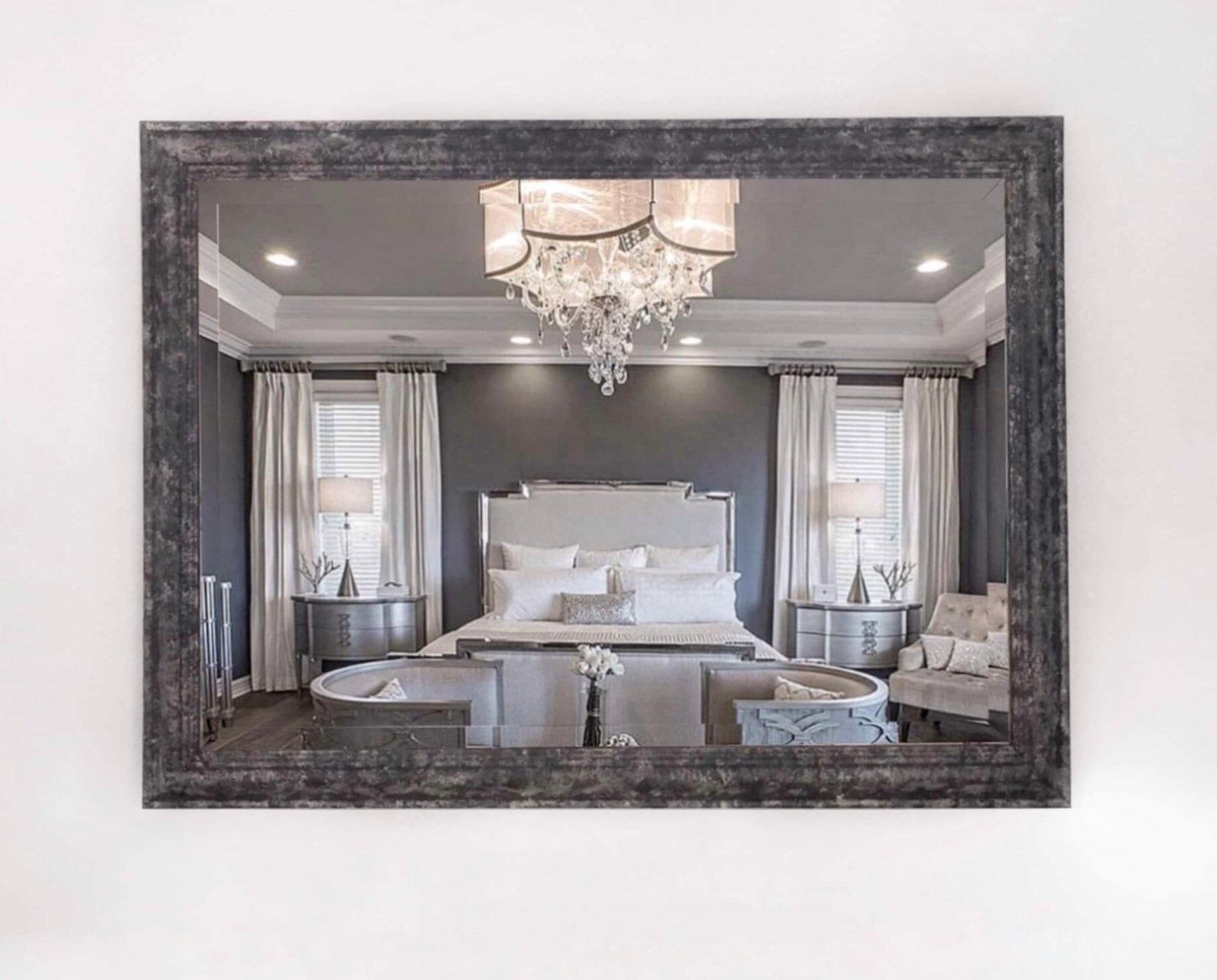 Mirror Wall Mirror Large Mirror Handpainted Grey Mirror Decorative Mirror Hanging Wall Mirror Framed Mirror Rectangular Mirror Vinterior