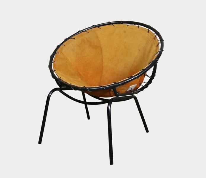 Sale Lusch & Co Germany Style Orange /Tan Suede  Ufo Balloon Chair