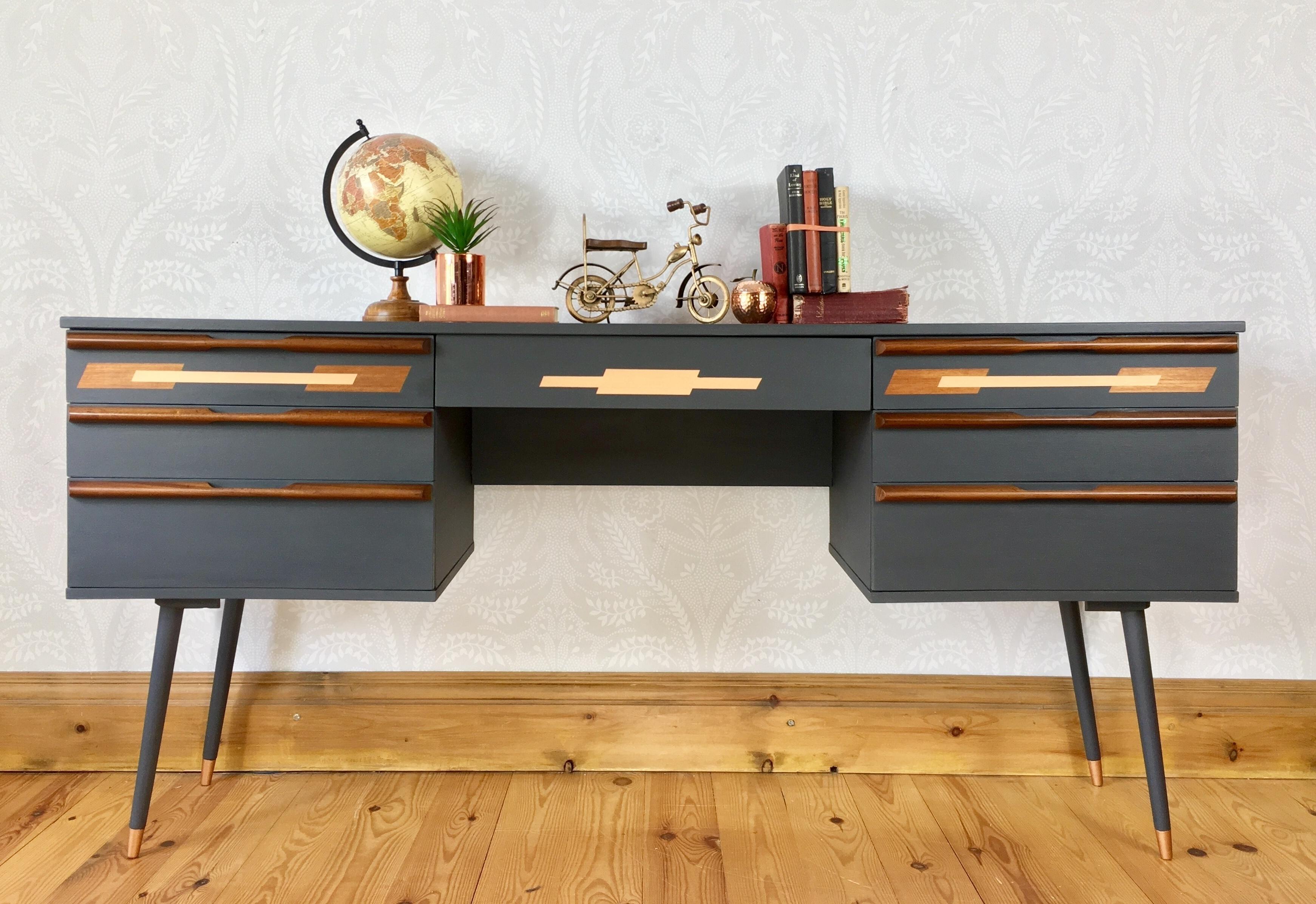 Image of: Mid Century Modern Desk By Avalon Retro Writing Desk Study Workspace Work Table Sideboard Office Desk Avalon Avalon Vinterior