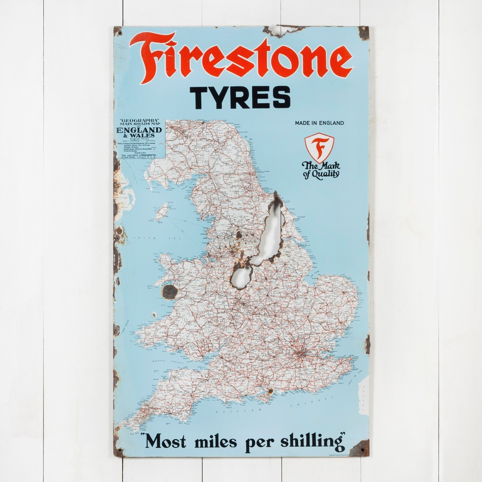 Map Of England Poster.Firestone Tyres Map Of England Enamel Sign