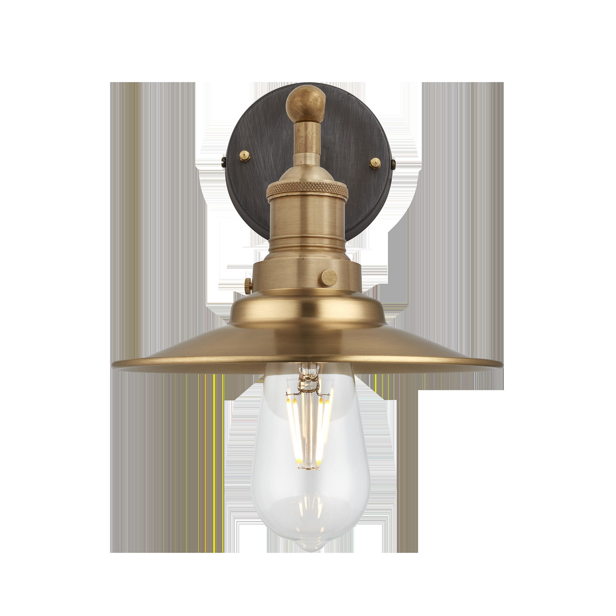 Brooklyn vintage antique sconce wall lamp flat shade antique brass 8 inch