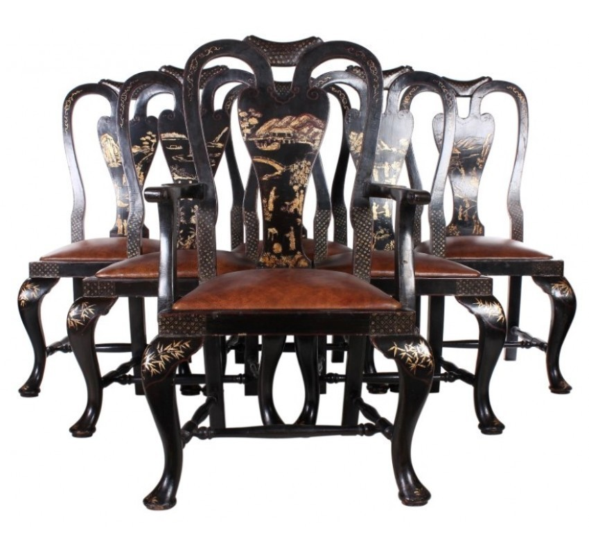 Phenomenal Set Of 6 Black Chinoiserie Queen Anne Style Chairs Download Free Architecture Designs Scobabritishbridgeorg