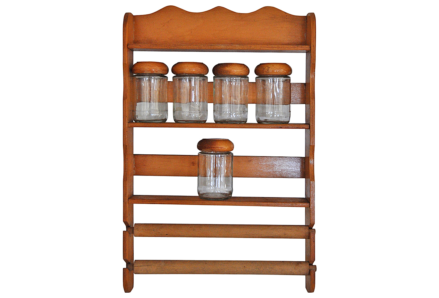 Vintage Wooden Spice Rack With Glass Bottles