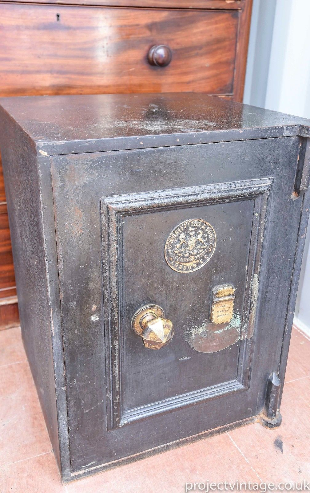 Fantastic Old Victorian Antique C H Griffiths & Sons Black Safe C1850 London