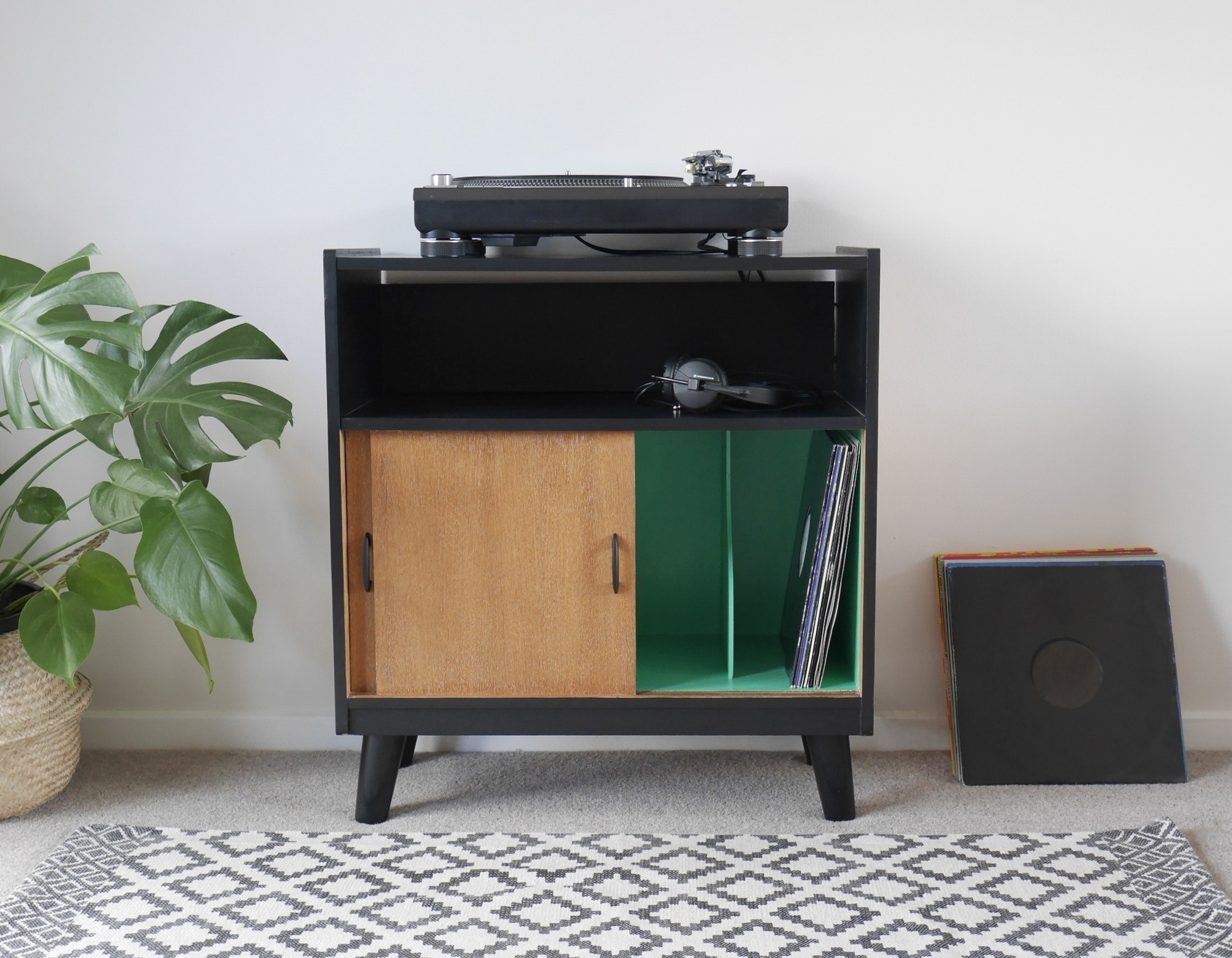 Vintage Record Player Stand With Vinyl Storage Painted Black