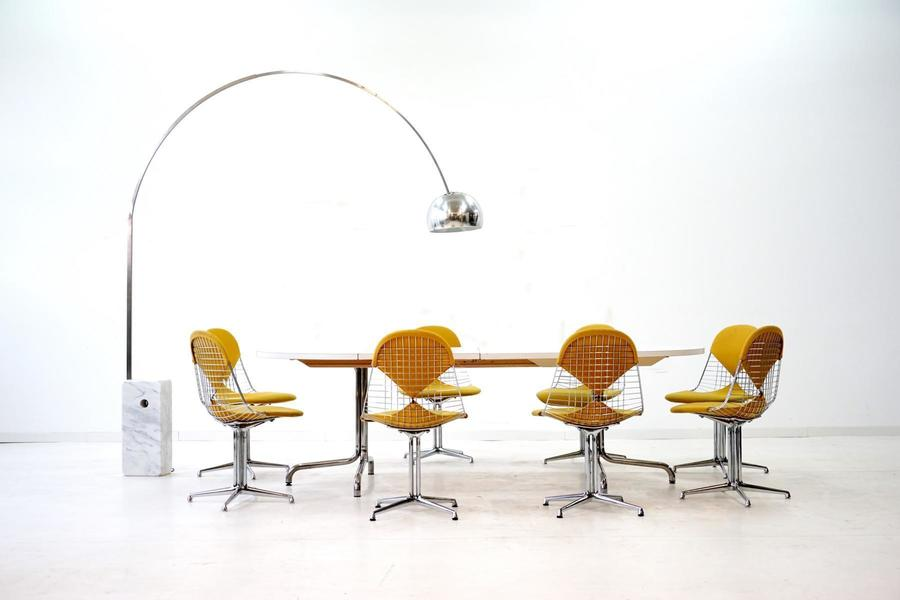 Mid Century Wire Bikini Side Chairs With La Fonda Base By Charles & Ray  Eames For Herman Miller, Set Of 6