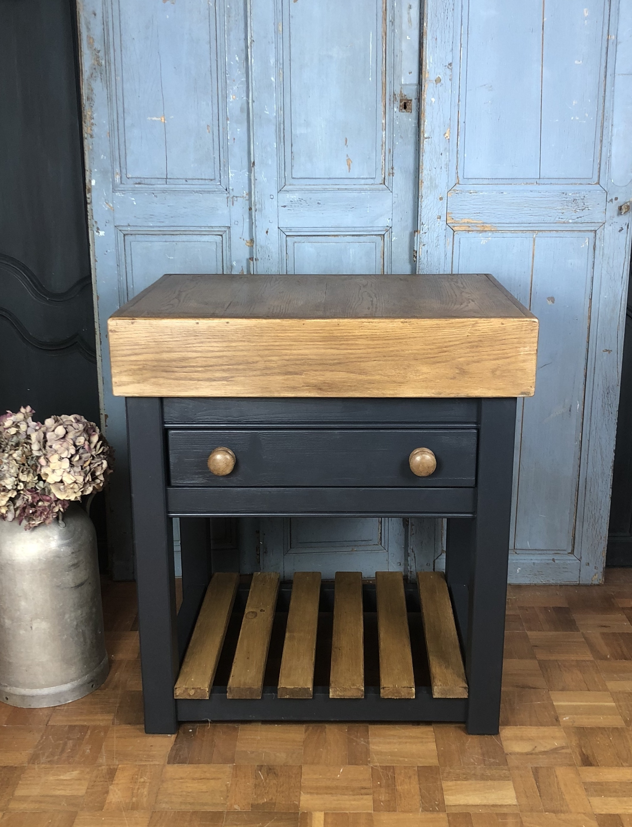 Solid Wooden Butchers Block Made From Old Bank Counters
