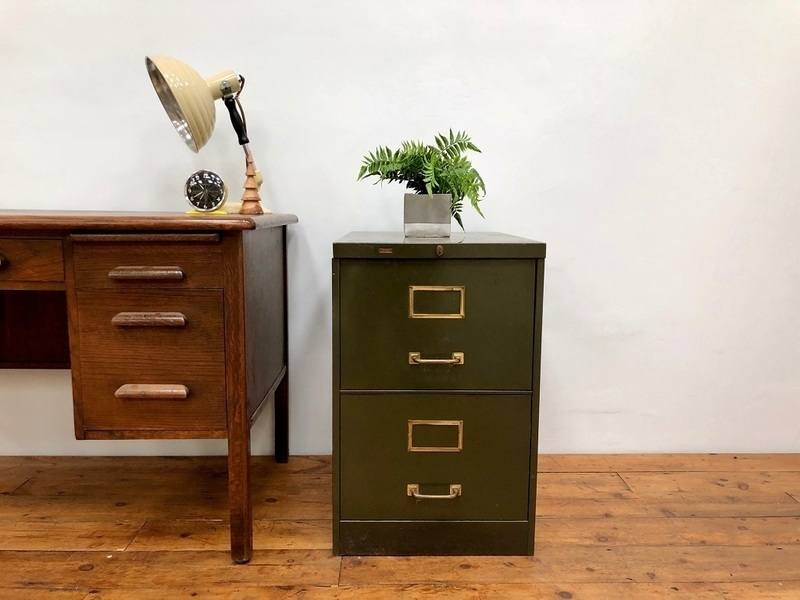 Mid Century 2 Drawer Steel Filing Cabinet By Roneo