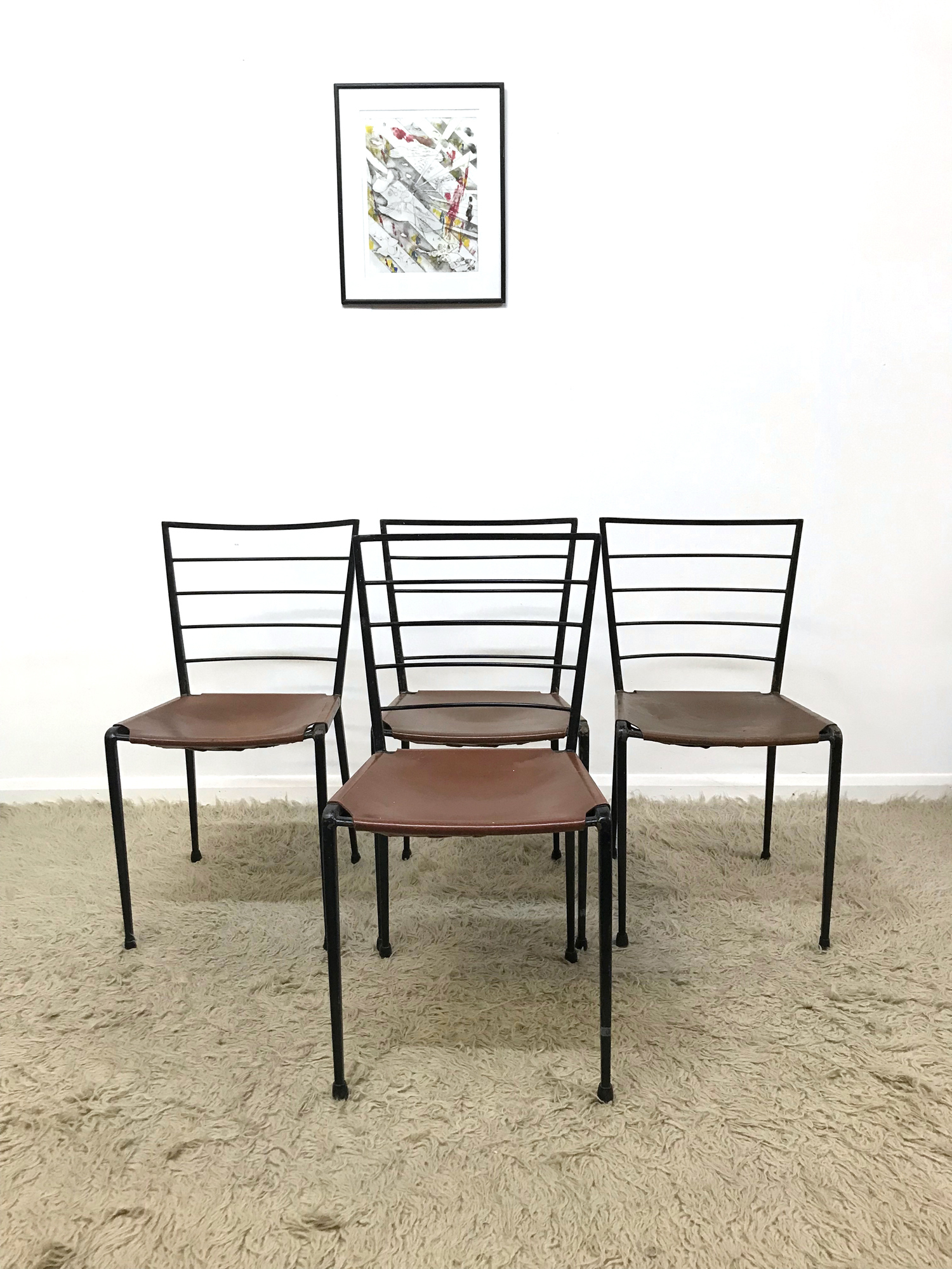 Swell Set Of 4 Rare 60S Staples Ladderax Metal And Leather Dining Dining Chairs Heals Andrewgaddart Wooden Chair Designs For Living Room Andrewgaddartcom
