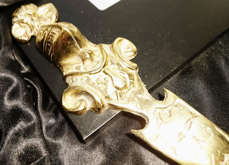 Brass Letter Opener Antique.Victorian Brass Letter Opener Knights Head Antique Solid Brass Rustic Decor