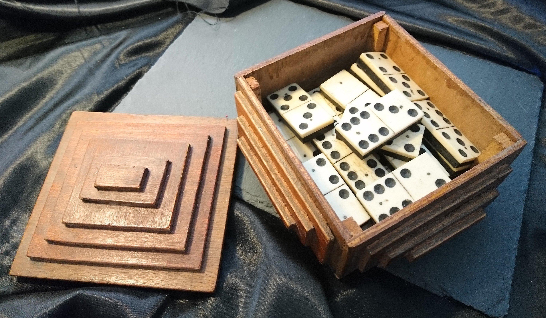 Antique Bone Dominoes Large Dominoes Bone And Ebony Wooden Box