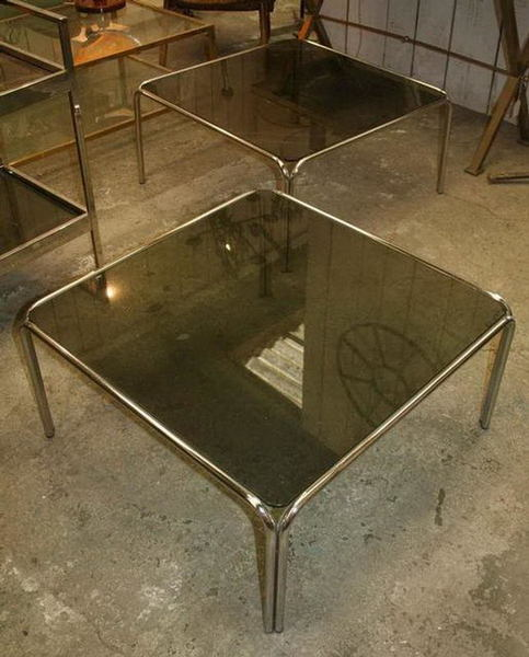 Pair Of Coffee Table With Chrome Base And Smoke Glass Vinterior