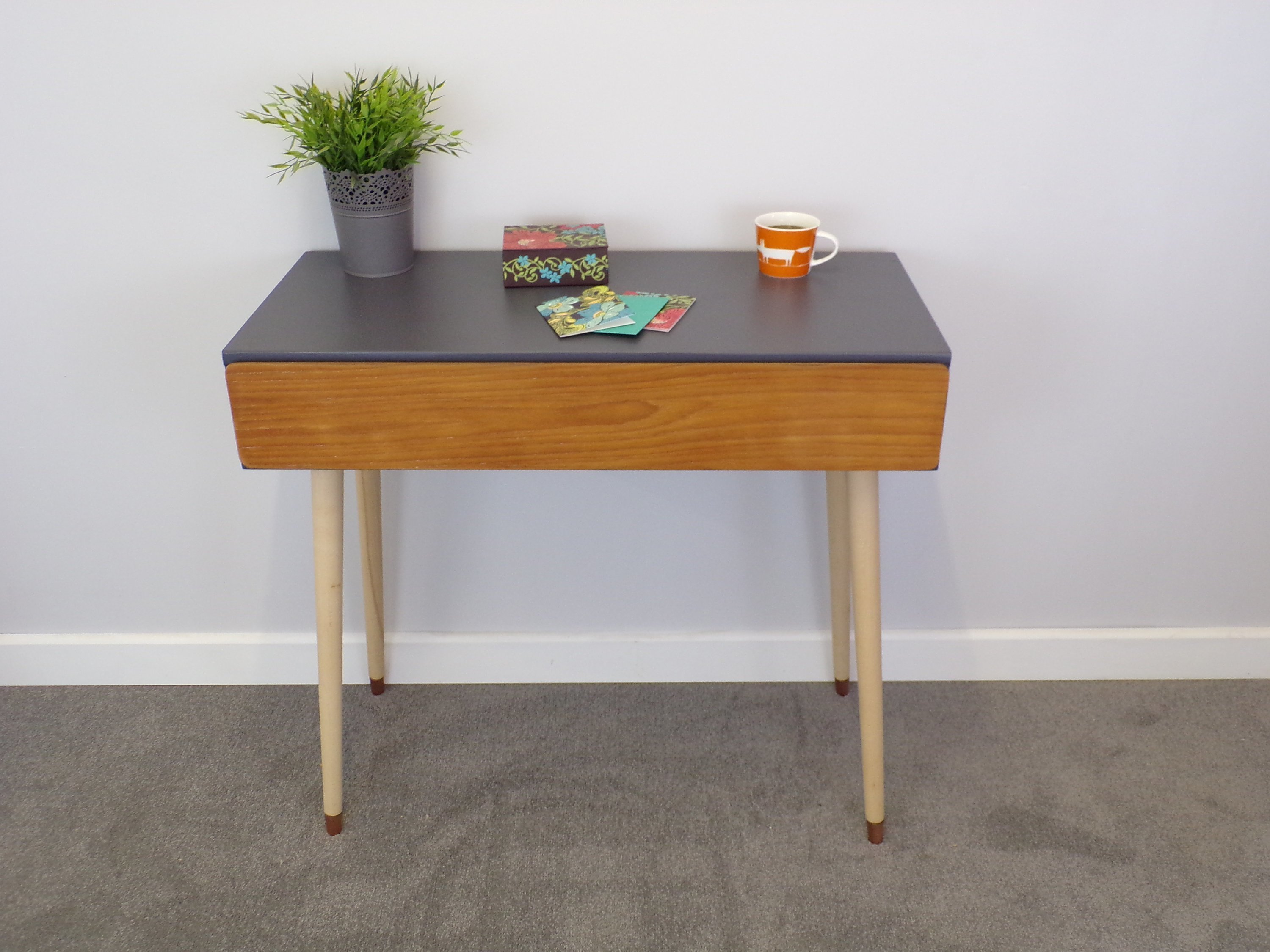 Image of: Mid Century Modern Desk With Drawer In Charcoal Grey With Tapered Legs And Copper Vinterior