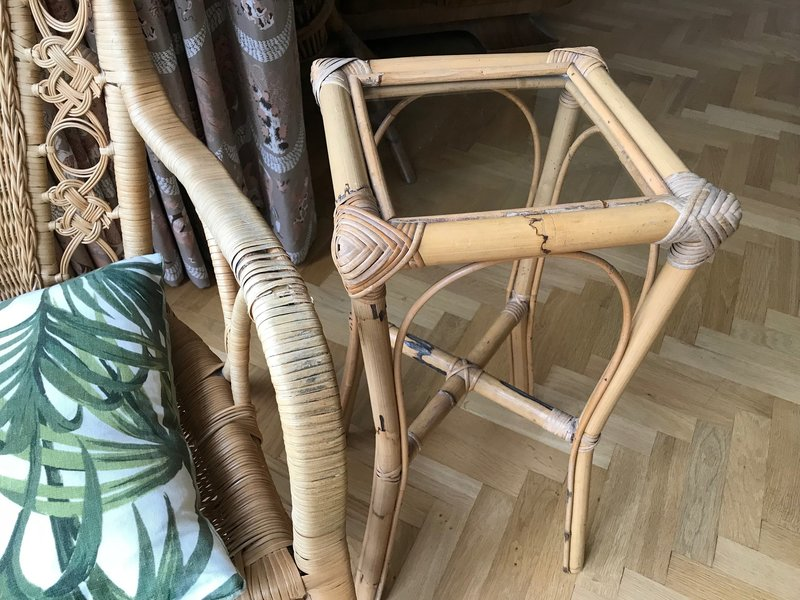 Vintage 1970s Rattan Bamboo Cane Glass Topped Side Table Plant Stand Boho Hollywood Regency