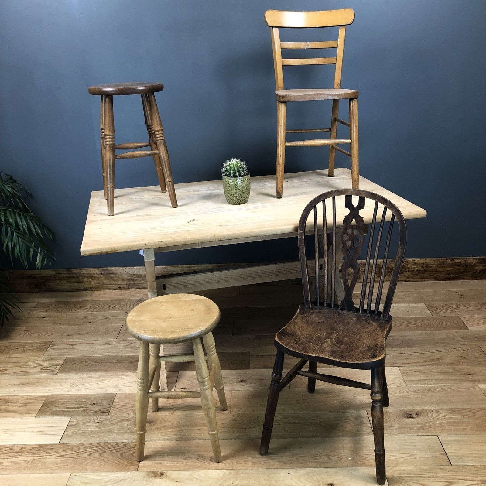 Pleasant Rustic Solid Pine Table Farmhouse Country Refectory 2 Chairs 2 Stools Dailytribune Chair Design For Home Dailytribuneorg