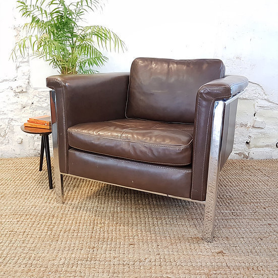 Italian Incanto I457 Leather And Steel Chair