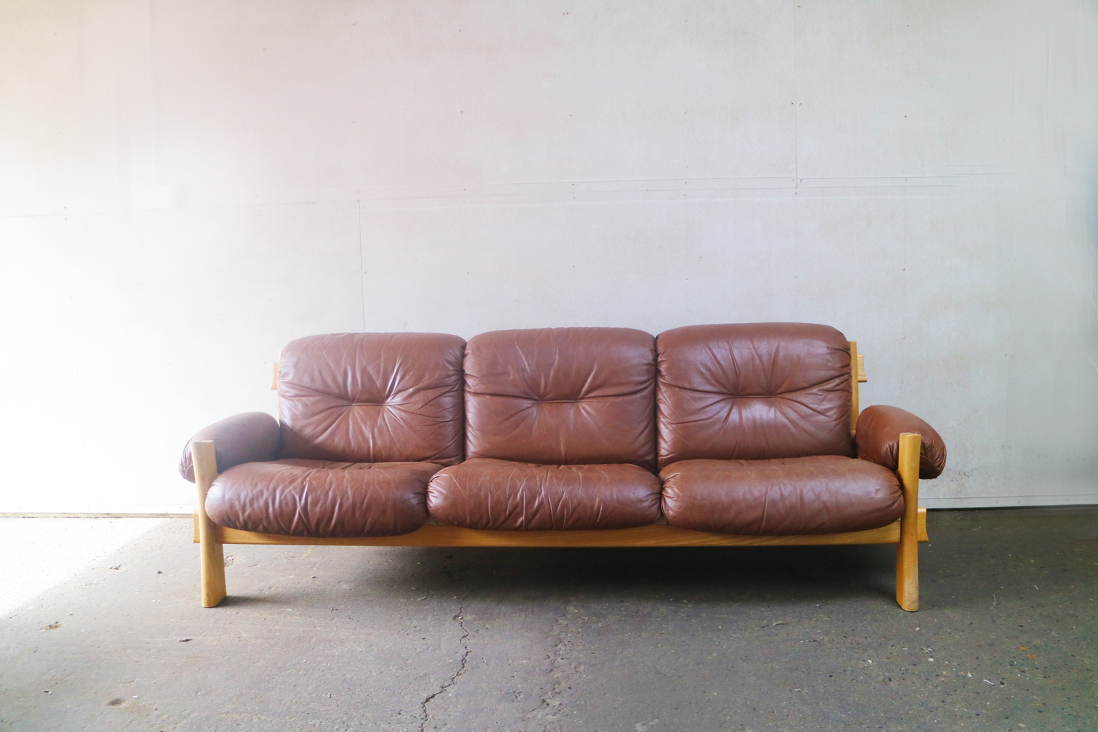 Danish Mid Century Modern 1970 S Brown Leather And Pine Sofa