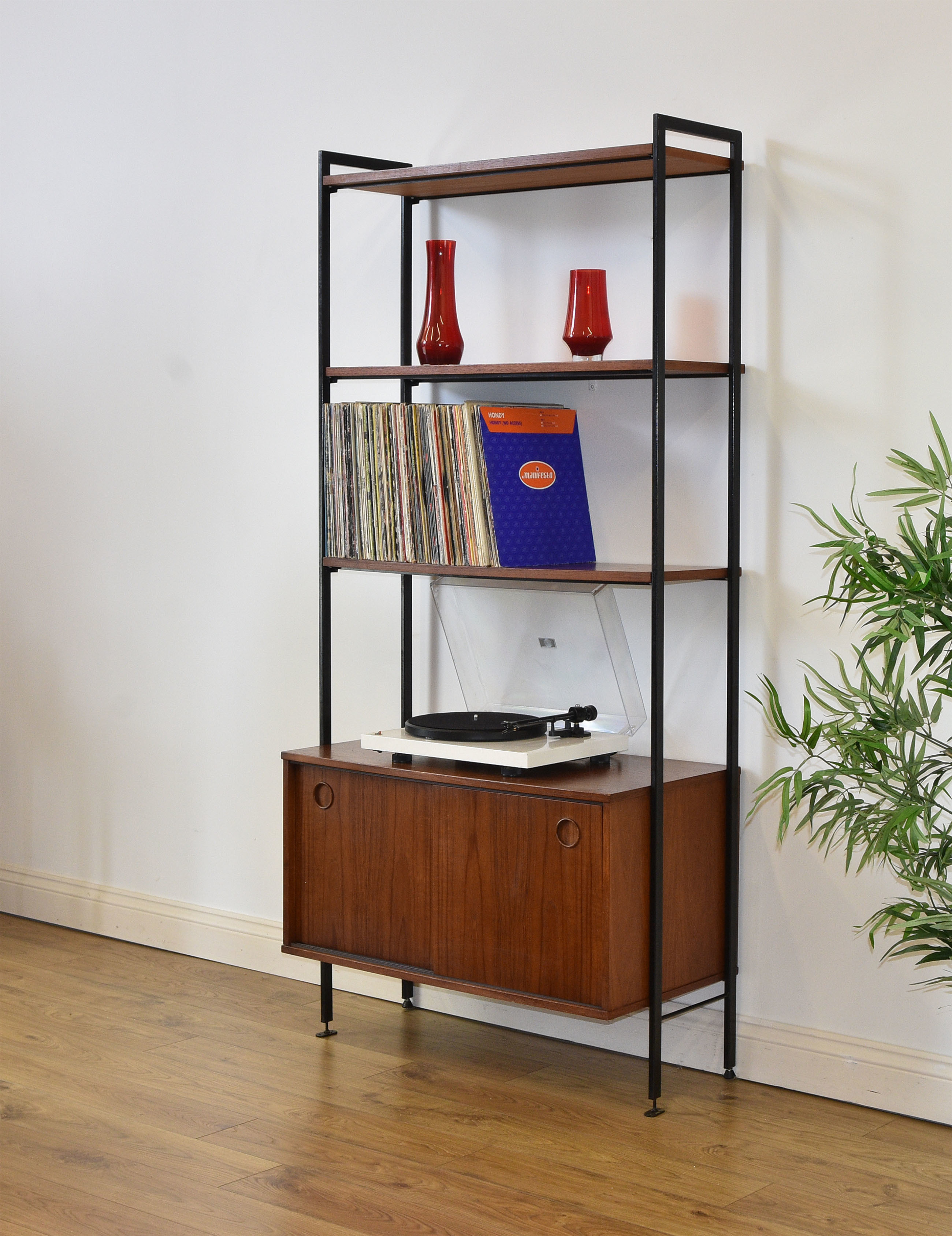 Mid Century Teak And Metal Ladder Bookcase Record Cabinet Vintage Avalon Free Delivery To Mainland England Wales