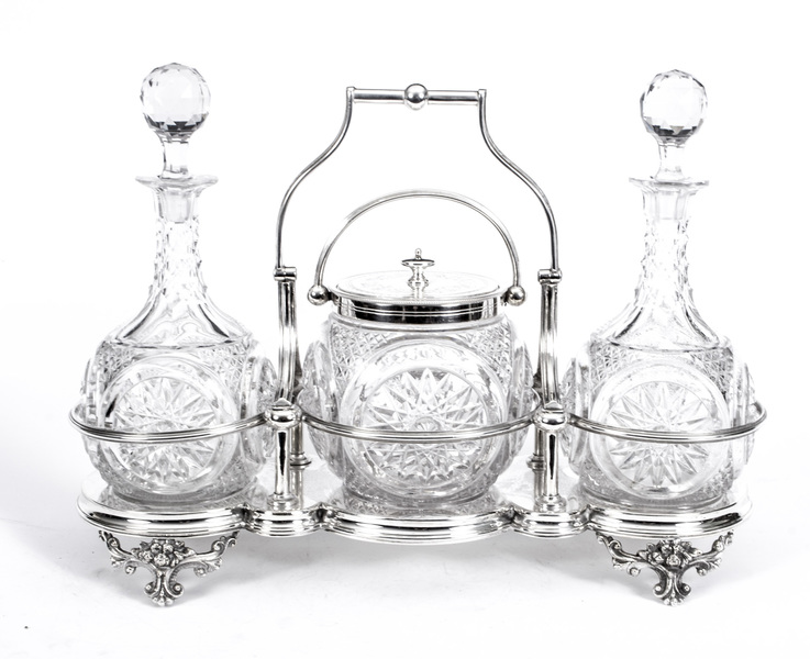 Antique Silver Plated Tantalus Cut Glass Decanters C1880 photo 1