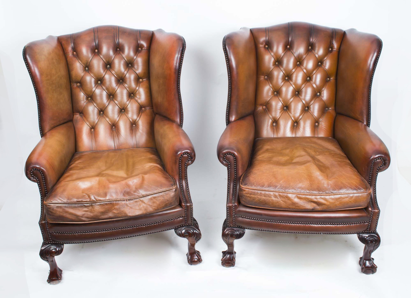 Antique Pair Leather Chippendale Wingback Armchairs C.1920 photo 1