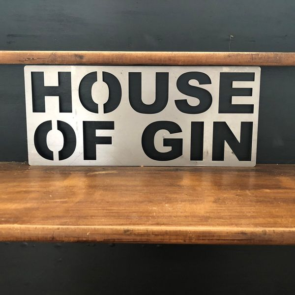 Steel House Of Gin Sign Metal Shop Home Rustic Pub Cafe Bar Cocktail Drinks Rum