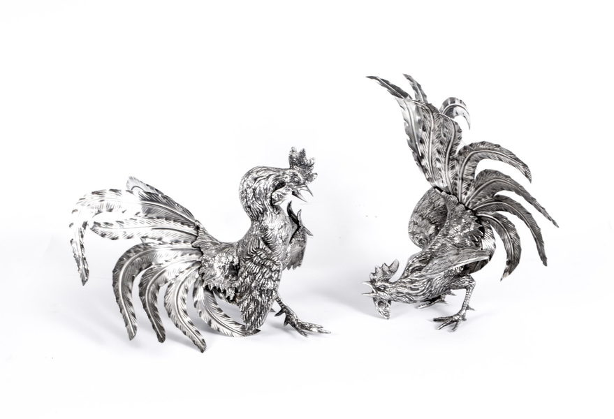 Antique Pair French Silver Plated Fighting Cockerels C 1880 photo 1