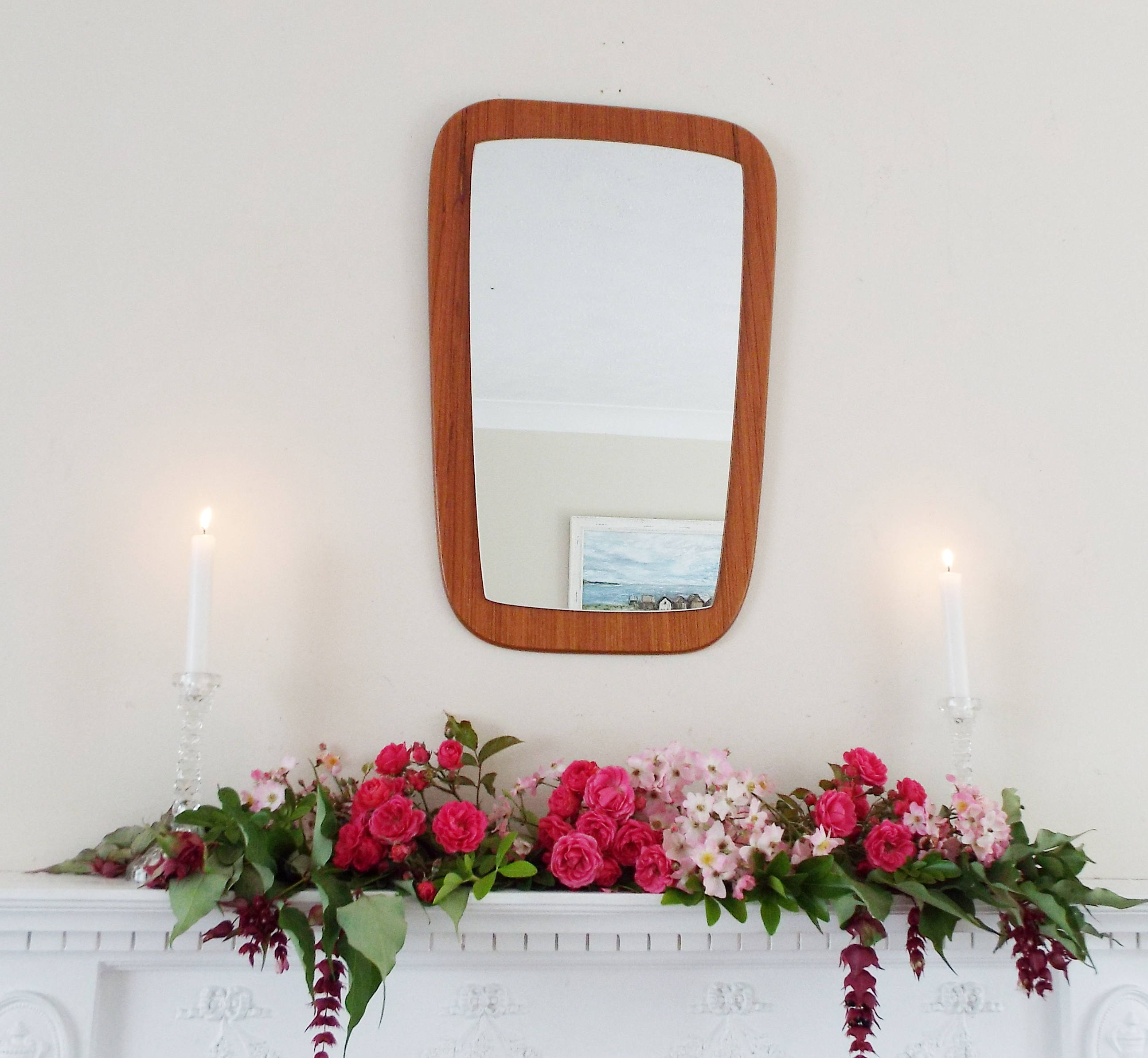 Vintage Danish Teak Mid Century Modern Wall Mirror Antique Mirror Vintage Mirror