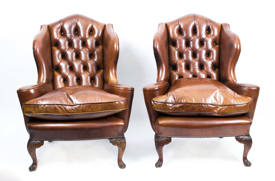 Antique Pair English Leather Wingback Armchairs C.1900 photo 1
