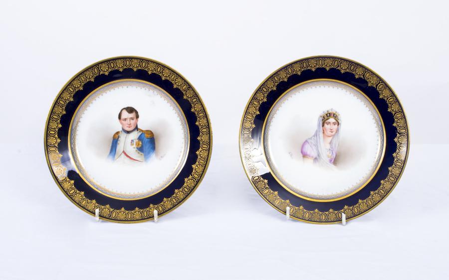 Antique Pair Sevres Cabinet Plates Napoleon Josephine