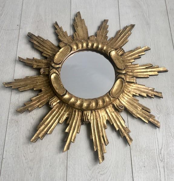 Vintage French Giltwood Sunburst Mirror