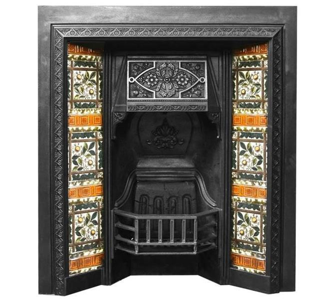 Antique Victorian Tiled Fireplace Insert