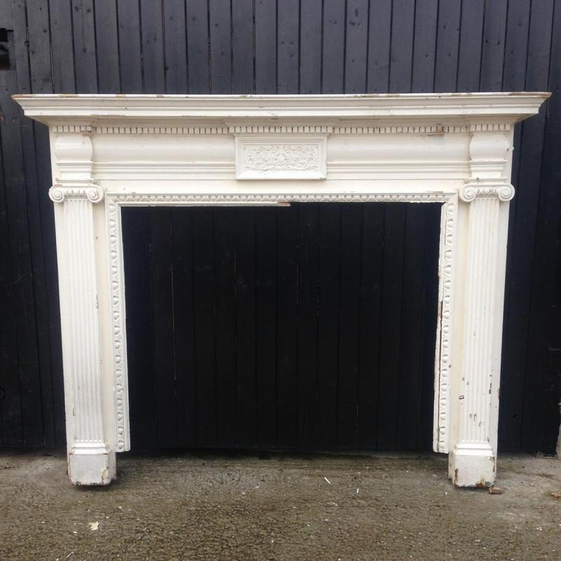 Antique Victorian Wooden Fireplace