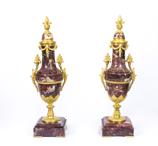 Antique Pair Louis Xv French Rouge Marble Urns C1870