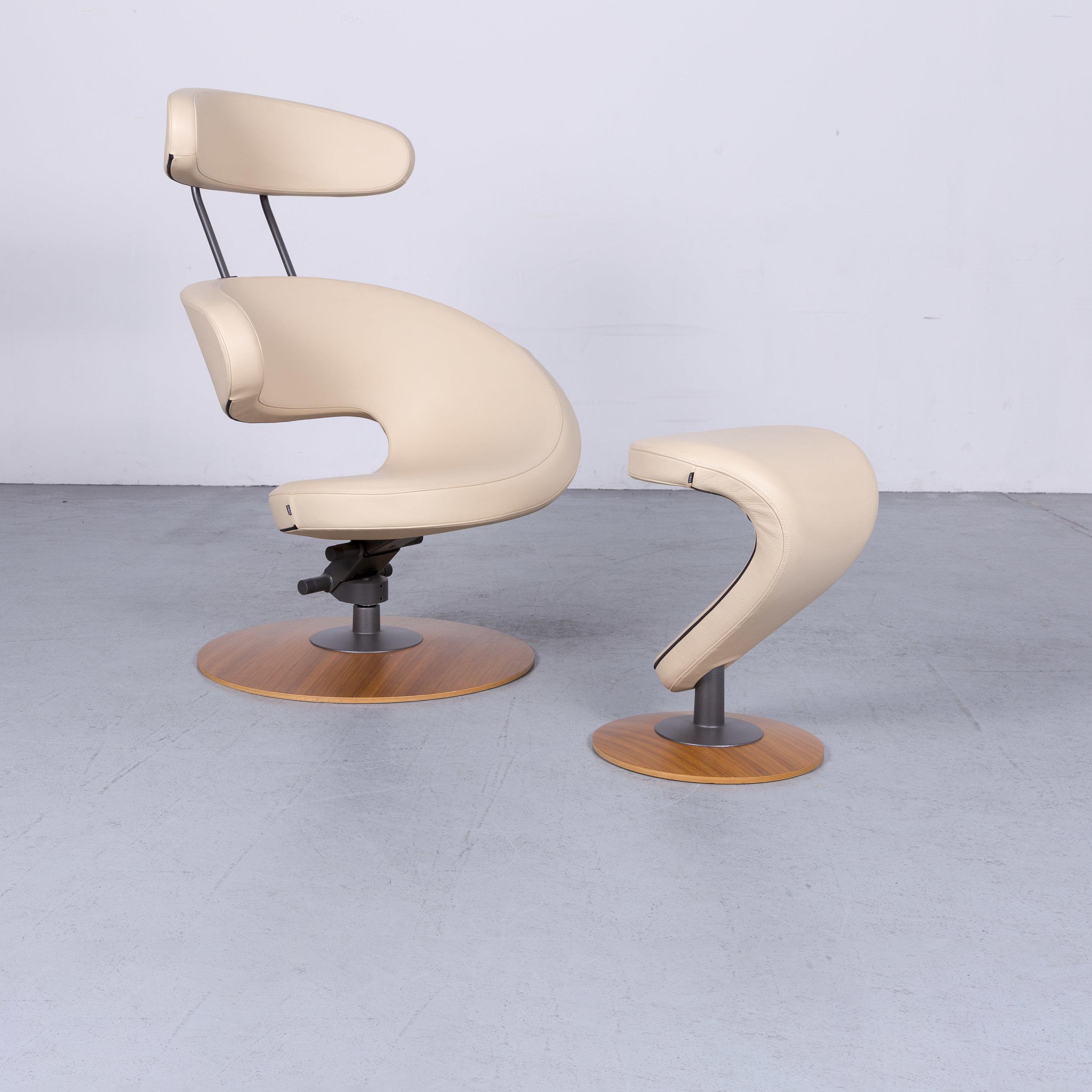 Poltrona Varier Peel.Varier Peel Designer Leather Armchair Stool Beige Genuine Leather Chair 6436