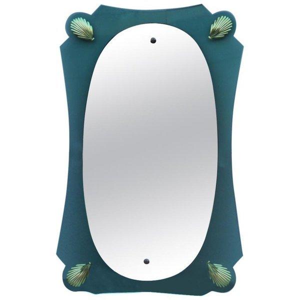 Italian Old Mid Century Modern Wall Mirror Cristal Art 1950s Green Gold Color Vinterior