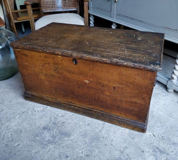 Vintage Wooden Trunk Toy Box