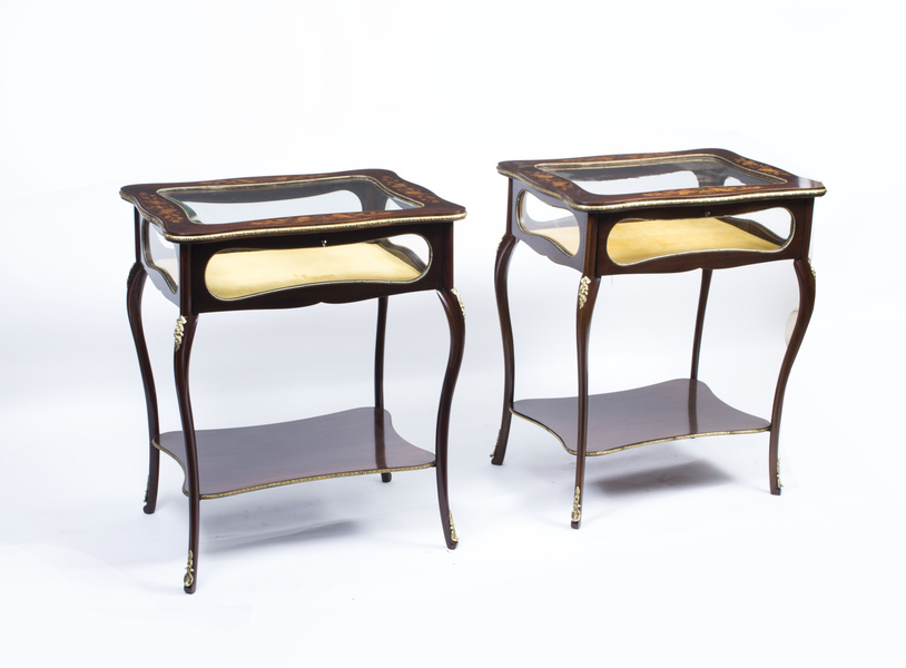 Antique Pair French Marquetry Display Table C.1880