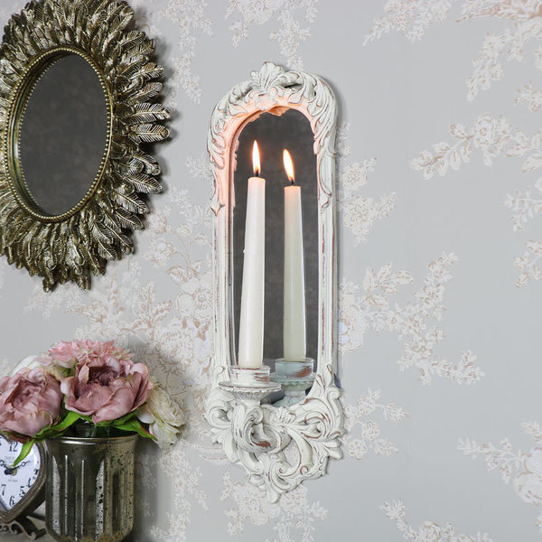 Ornate Cream Wall Mirror With Candle Sconce