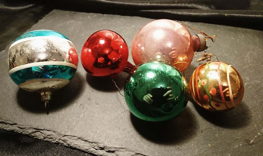 Antique Christmas Baubles, Blown Glass, Hand Painted Christmas Decorations