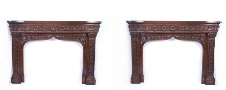 Pair Early 20th C Neo Gothic Carved Mahogany Chimney Pieces photo 1