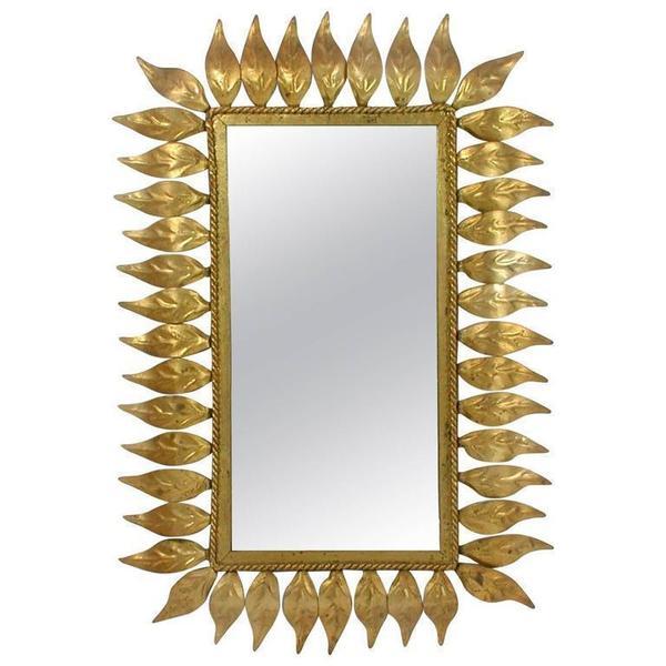 Mid Century Spanish Sunburst Gilt Wall Mirror, 1950s