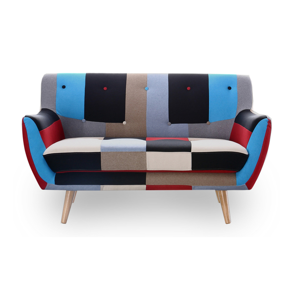 2 Seater Sofa Retro Scandinavian Compact Patchwork Fabric Free Uk Delivery