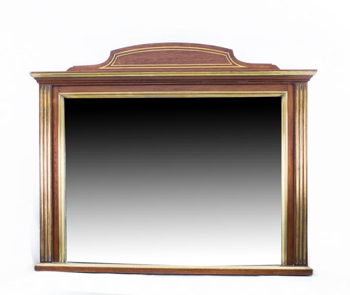 Antique Mahogany Brass Inlaid Over Mantle Mirror C1900
