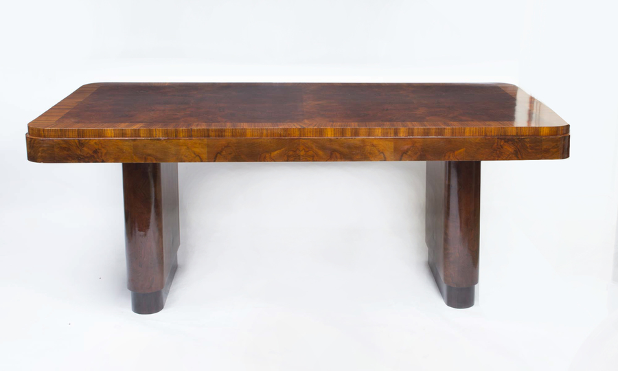 Antique Art Deco Walnut & Rosewood Dining Table C1920 photo 1