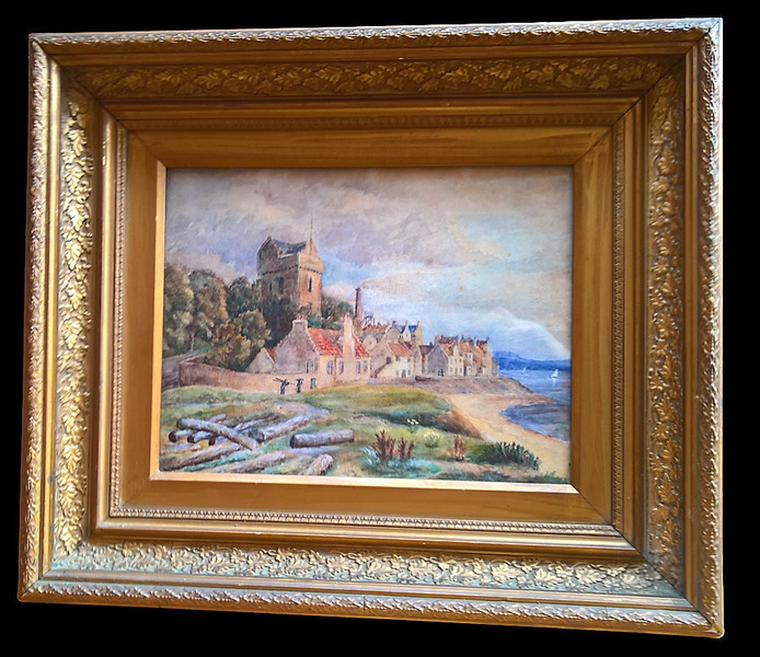 Antique Watercolour Coastal Rural Scene In Gilt Frame