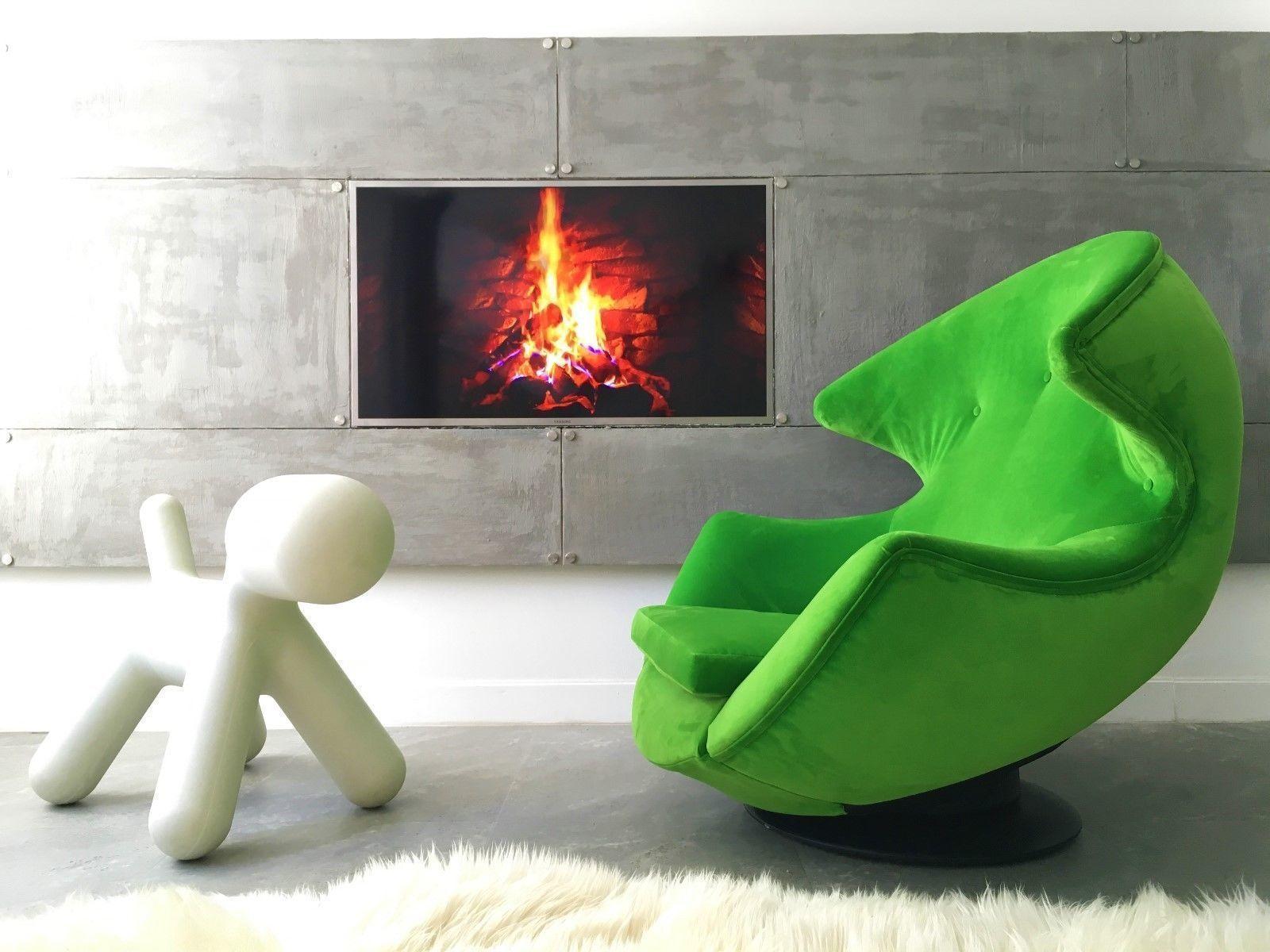 Vintage Funky Design Retro Green Velvet Swivel Egg Chair Armchair Chaise Longue